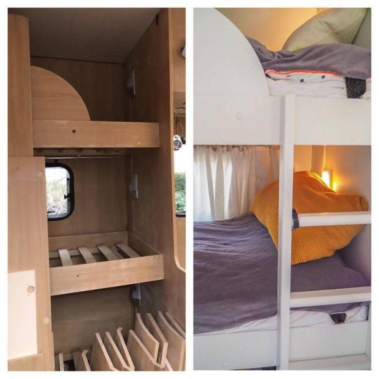 vorher - nachher Beispiel einer Stockbett Renovierung im Wohnwagen - Caravan Service Stehmeier