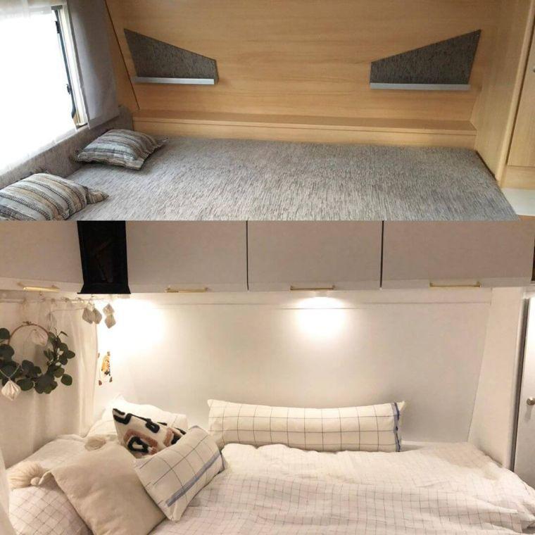 vorher - nachher Beispiel einer Schlafbereich Renovierung im Wohnwagen - Caravan Service Stehmeier
